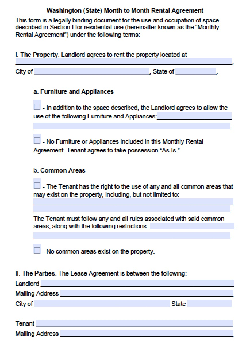 Washington State Rental Agreement Forms