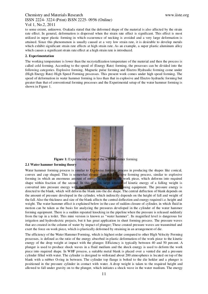 Water Hammer Sheet Metal Forming