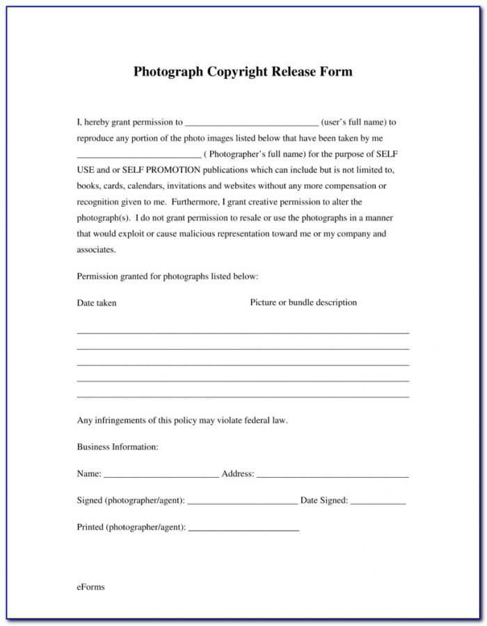 Wedding Photography Release Forms