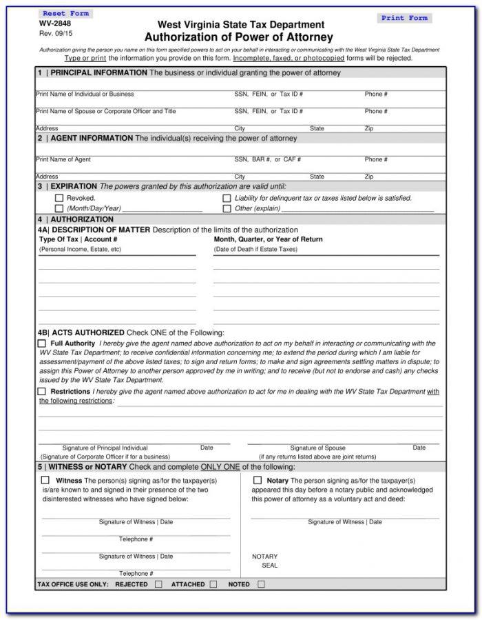 West Virginia Department Of Revenue Power Of Attorney Form