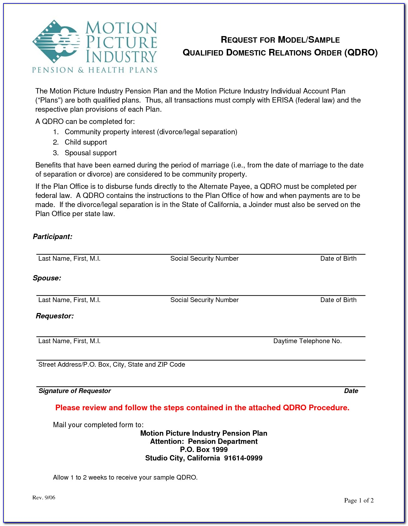 What Is A Qualified Domestic Relations Order Form