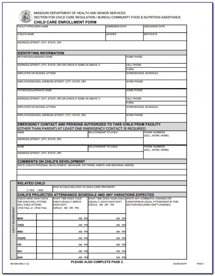 Wisconsin Daycare Enrollment Forms