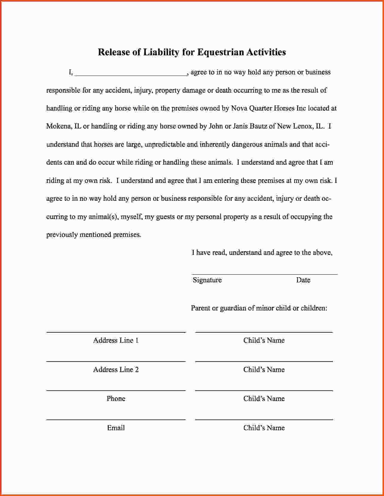 Disclaimer Template Letter Fresh Liability Waiver Template Fresh 19 Luxury Liability Release Form