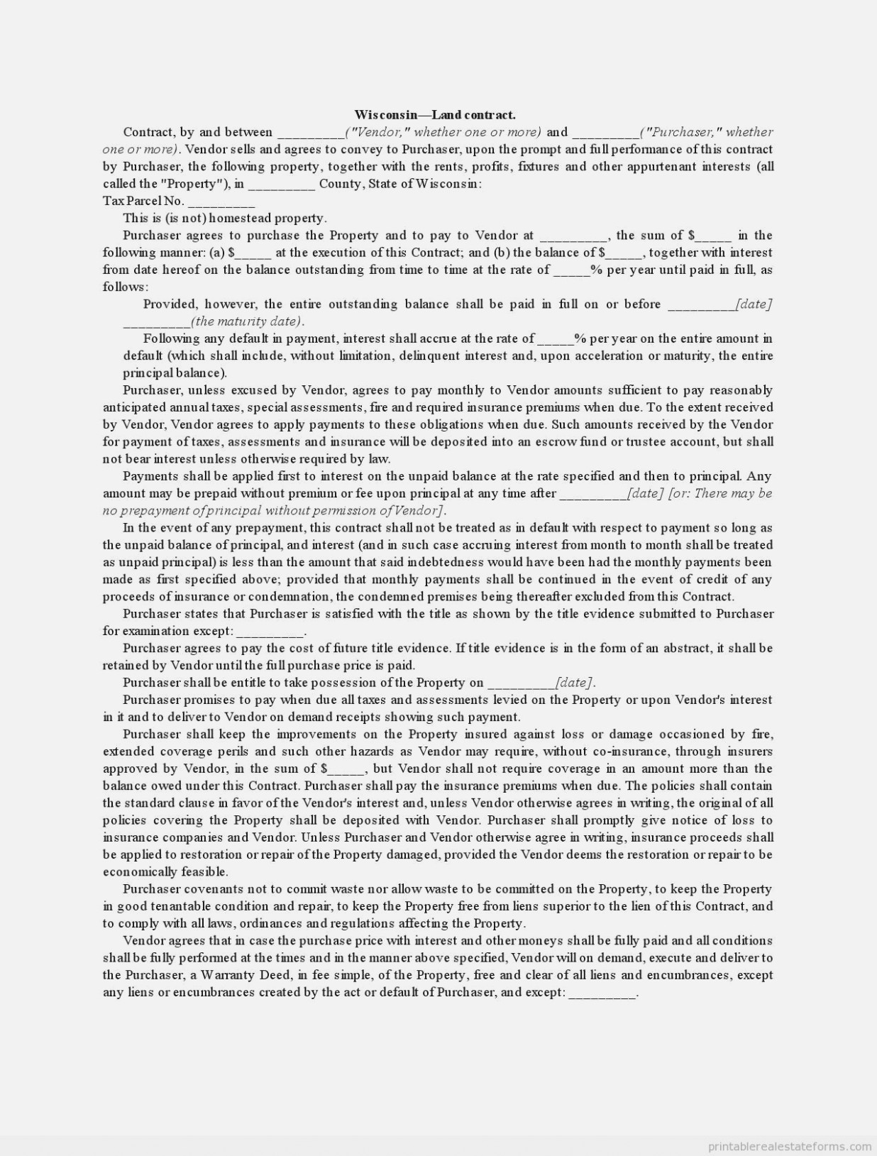 Wisconsin Land Contract Form 11
