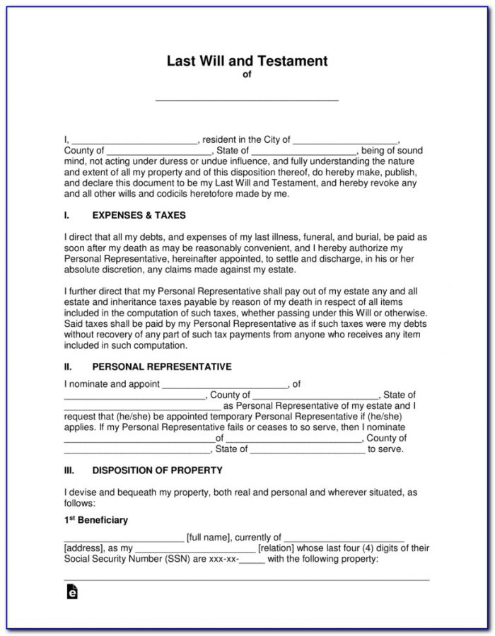 Wisconsin Last Will And Testament Form Free