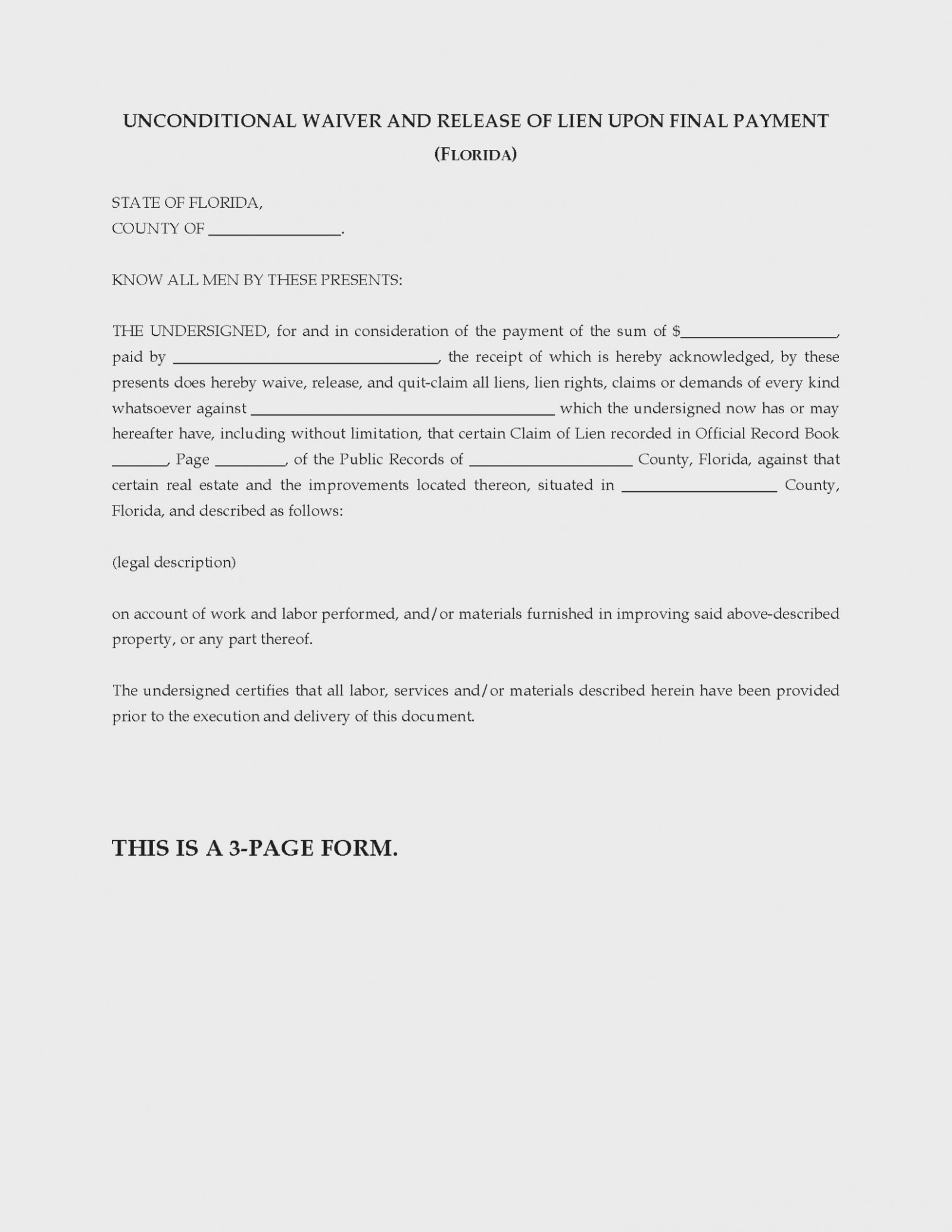 Wisconsin Lien Waiver Form Free