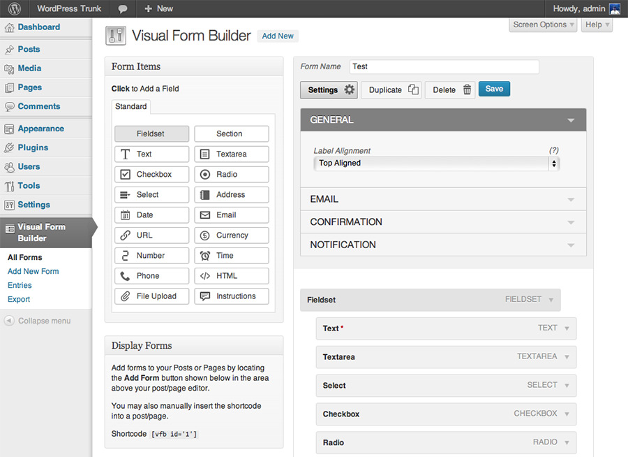 Wordpress Form Builder Dynamic Fields