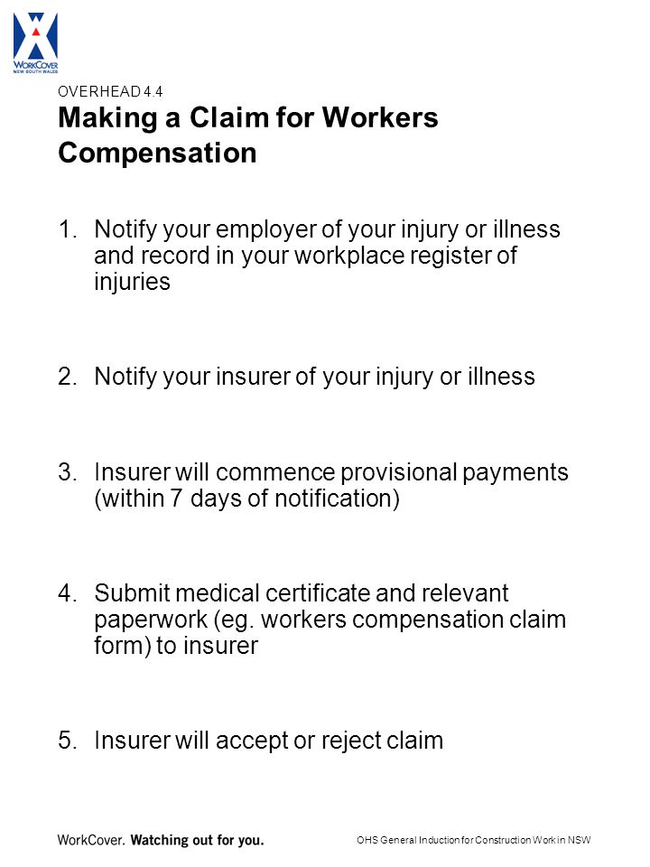 Worker Compensation Claim Form Nsw