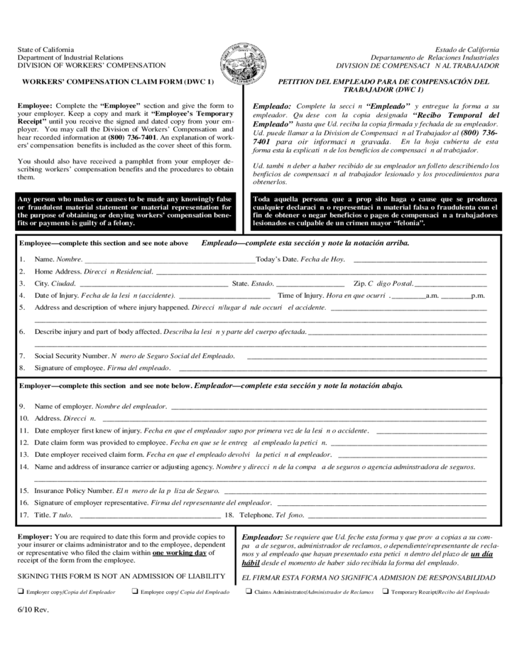 Workers Comp Form California