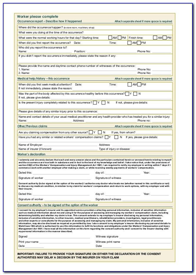 Workmans Comp Claim Forms