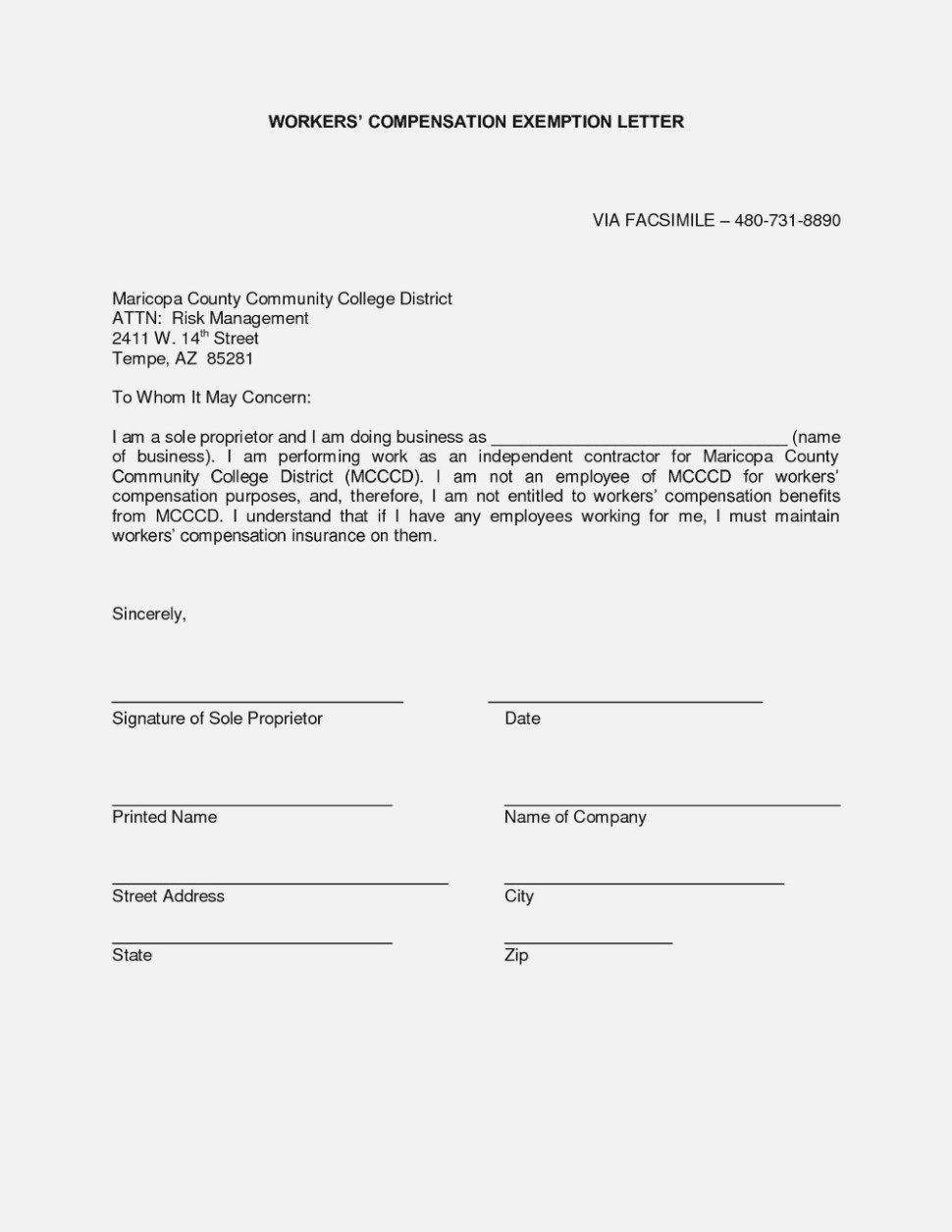 Workmans Comp Exclusion Form