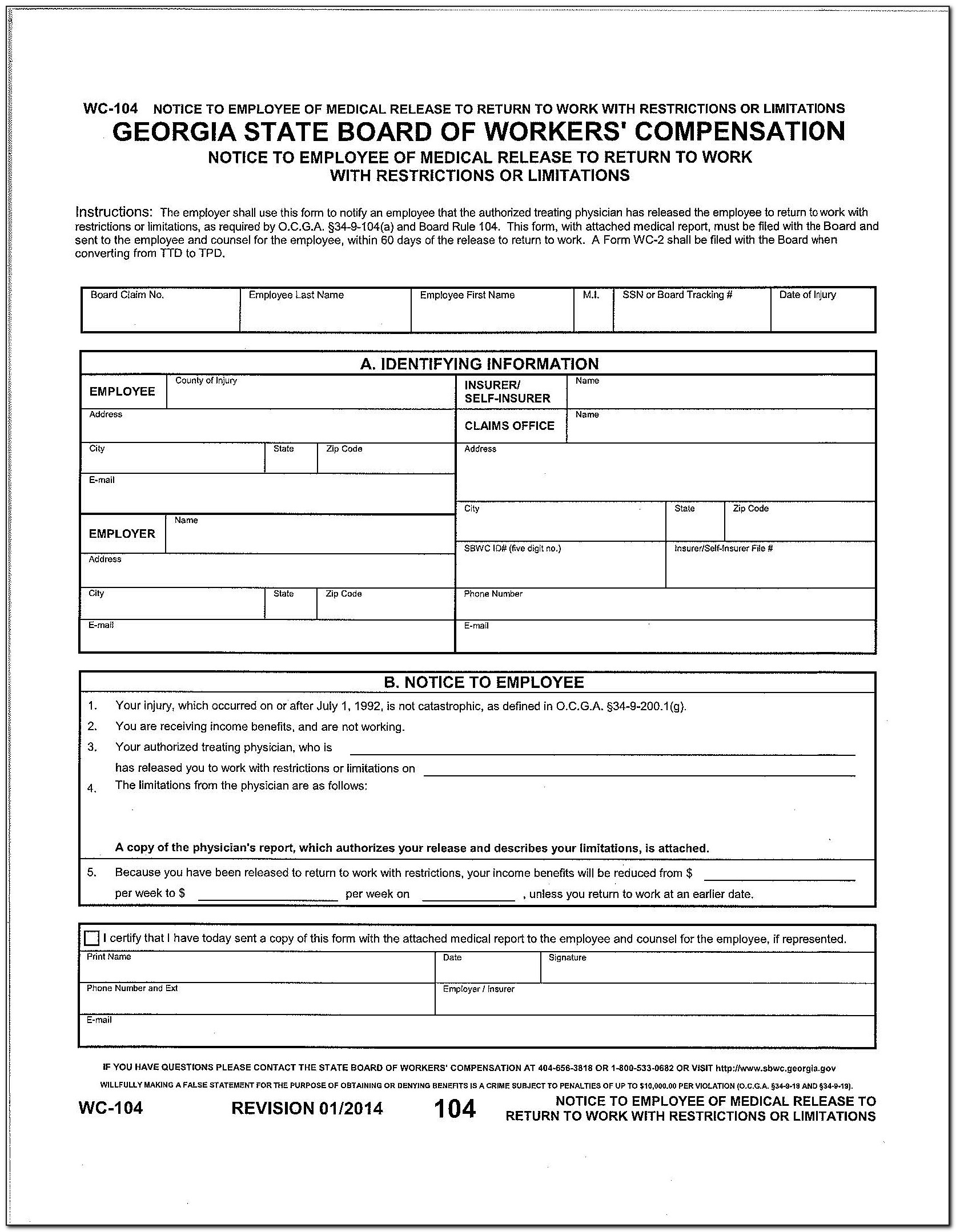 Workmen's Compensation Forms 2016