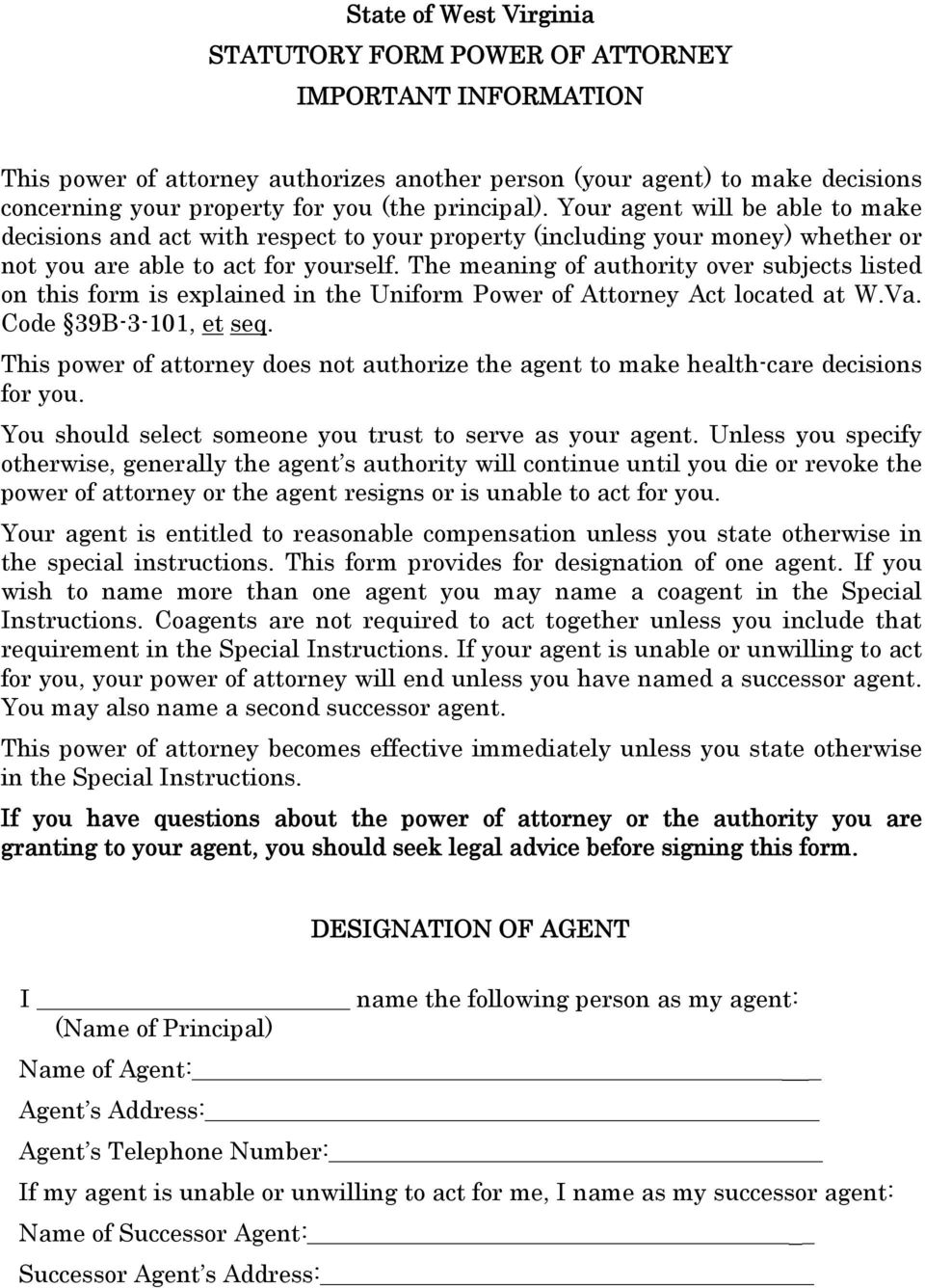 Wv Uniform Power Of Attorney Form