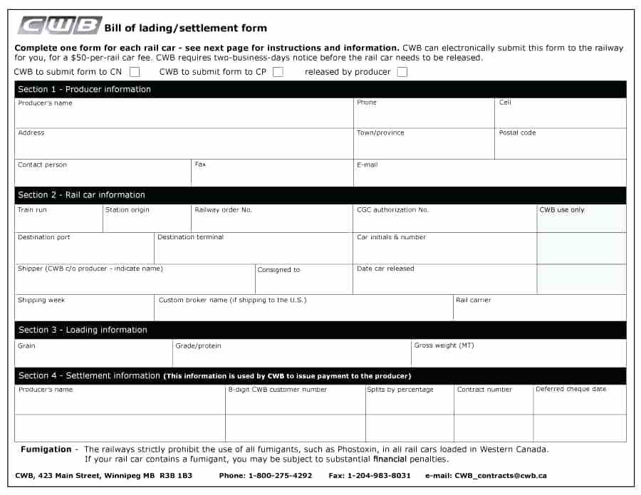 Yrc Bill Of Lading Forms