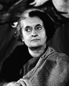 Indira Gandhi (1917 - 1984), Indian politician and daughter of Nehru. She was assassinated in 1984 by members of her Sikh bodyguard. (Photo by Evening Standard/Getty Images)