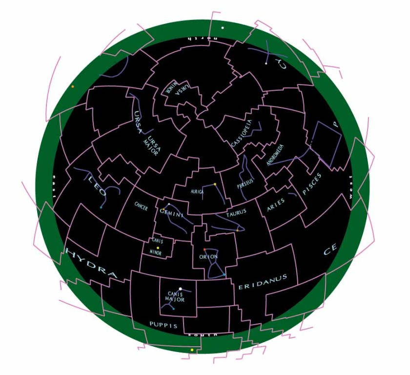 Sky chart with azimuthal equidistant projection