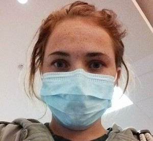 Mindy Catmull wearing a hospital mask to protect herself from airborne infections. This is also the type of mask Catmull wears into surgery.