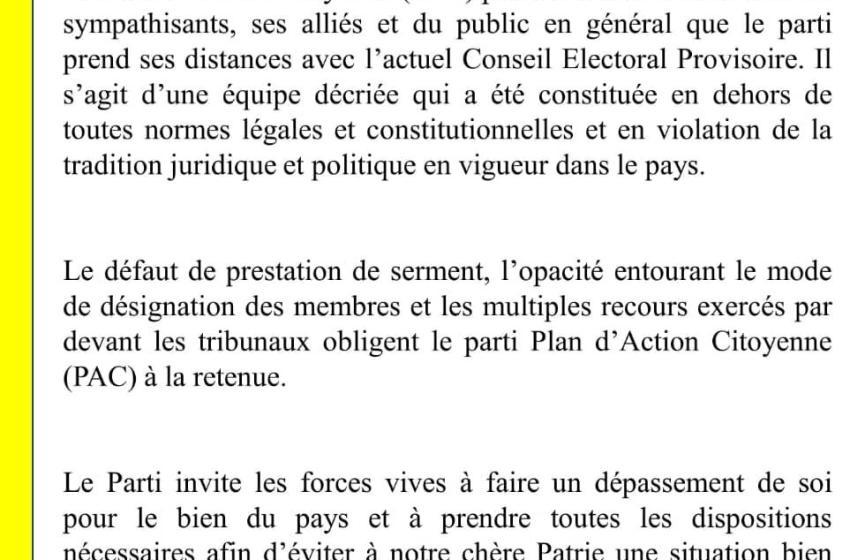 Haïti-Politique : Le Plan d'Action Citoyenne prend ses distance aux nouveaux Conseillers Électoraux
