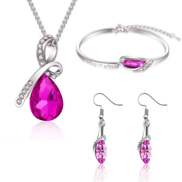 Parure Goutte d'eau Arielle cristal rose
