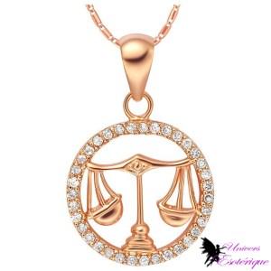 Magnifique collier signe astrologique Balance plaqué or et cristal - Univers ésotérique