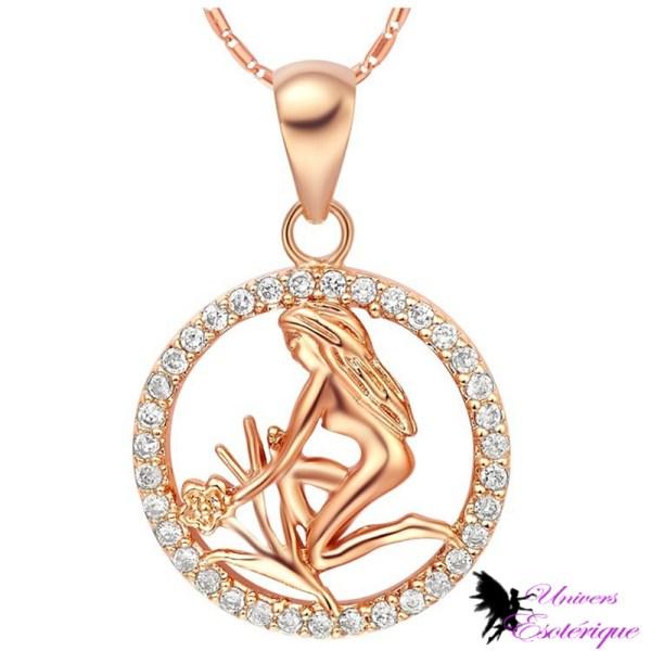 Magnifique collier signe astrologique Vierge plaqué or et cristal - Univers ésotérique