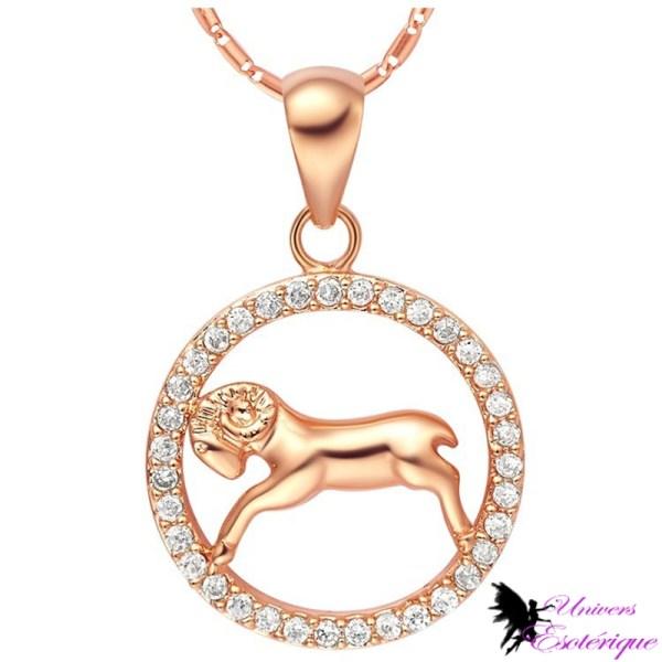 Magnifique collier signe astrologique Bélier plaqué or et cristal - Univers ésotérique