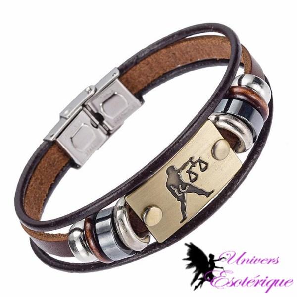 Bracelet signe astrologique balance en cuir - Univers ésotérique