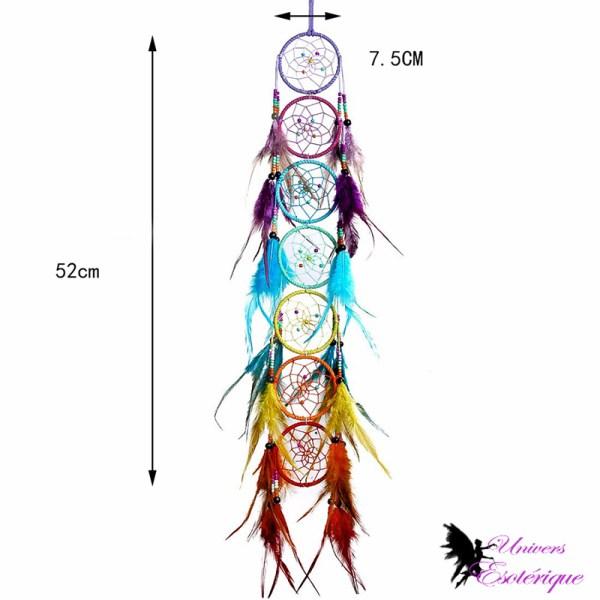 Attrape-rêves Harmonie des 7 chakras en plumes - Boutique Univers ésotérique