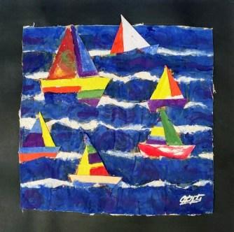 Título: Altamar Técnica: Collage sobre papel hecho a mano Medida: 30cm x 30cm Año: 2020