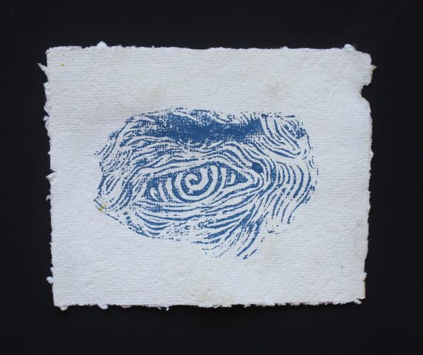 Título: Sugestión Técnica: Grabado sobre papel hecho a mano Medida: 16cm x 19cm Año: 2020