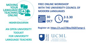 Event flier 'Moving your language teaching online'