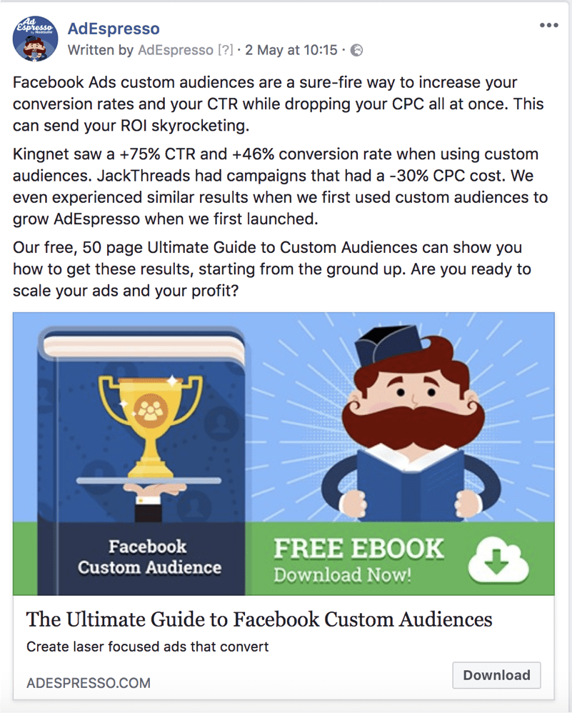 facebook ad copy length - adespresso experiment tekst voorbeeld 6