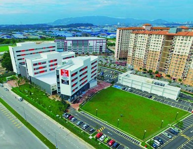 Aerial view of HELP University's Subang 2 campus and its surroundings