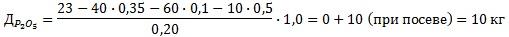 Пример расчета дозы удобрений (фосфор)