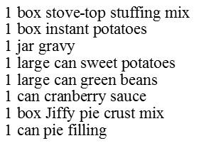 Christmas Dinner in a Bag - Ingredients