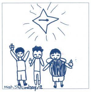 Three Kings following the Star