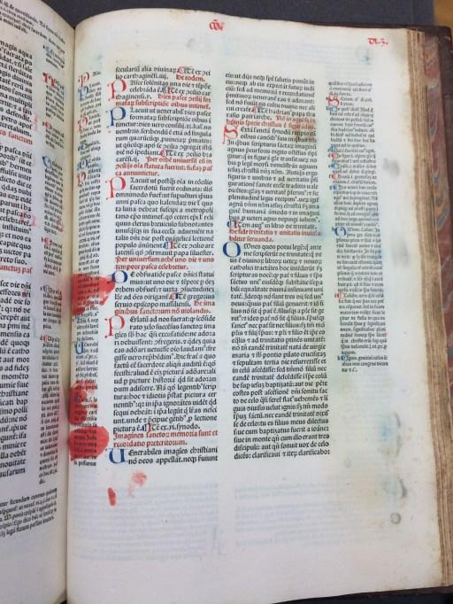 "Rubrication gone wrong in Gratianus: ""Decretum"" published 1474. (Sp Coll Hunterian Bw.1.12)"