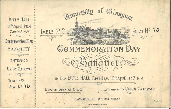 Invite to Commemoration Day banquet 1904 (Acc 130/2/10)