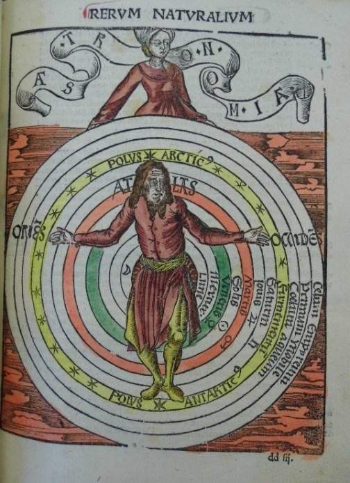 Image of the medieval version of the geocentric universe; note that man is in its centre