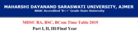 mdsu time table 2019