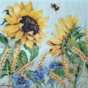 "GUARDANAPO ""SUNFLOWER AND WHEAT BLUE""-33X33CM"