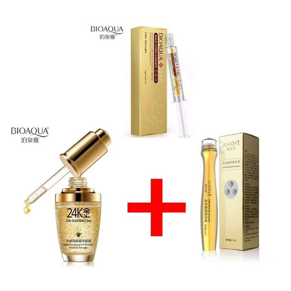 Kit Bioaqua 24k Gold Essence Colageno Acido Hialuronico 3pz