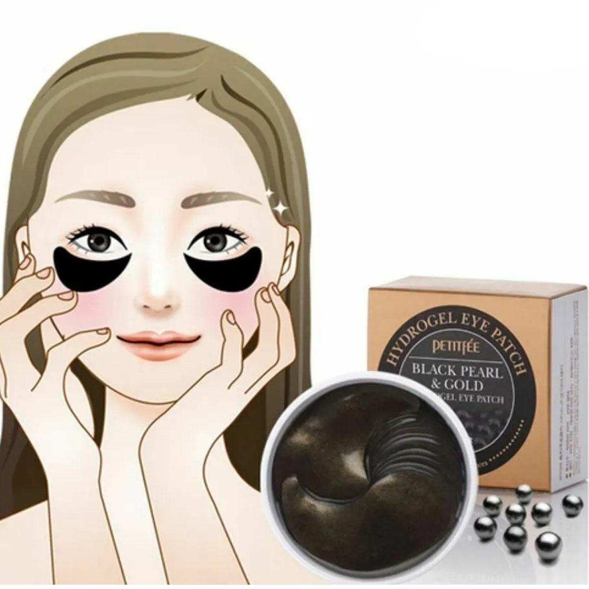 Parche Coreano De Ojo Petitfee Black Pearl & Gold Hydrogel