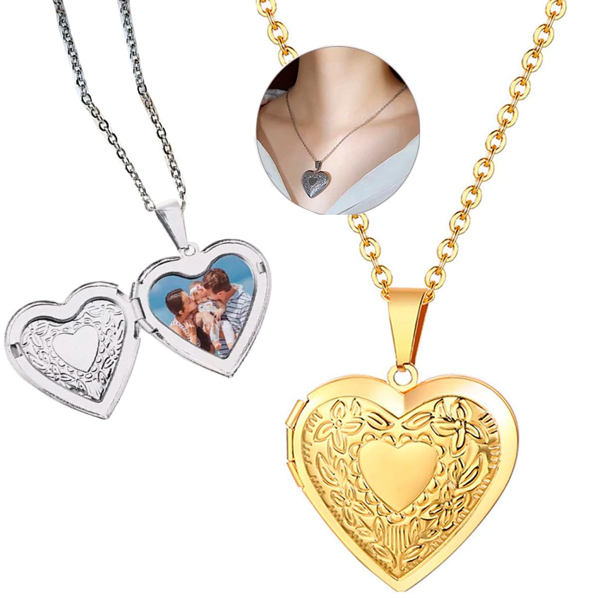 Relicario Collar Corazón Med Fotos Dama Regalo Acero Inox
