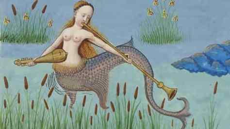 Sirena-edad-media-con-instrumentos-musicales