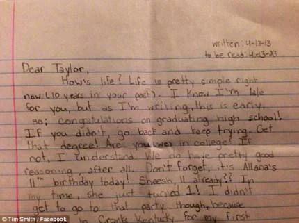 Lettera di Taylor Smith