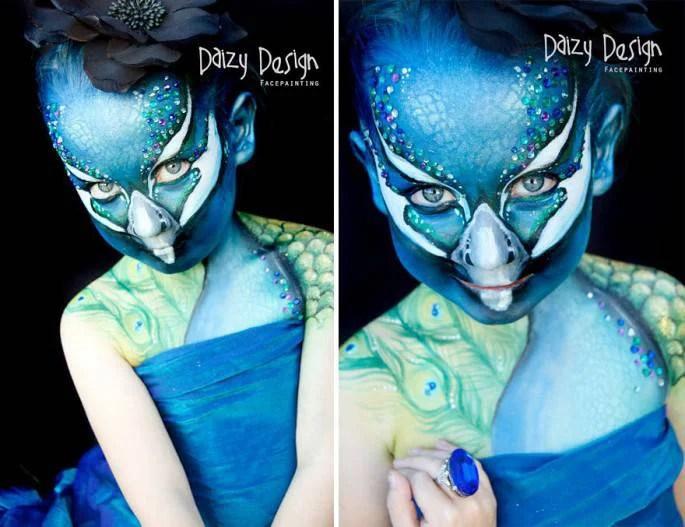 bambina con volto aquila blu