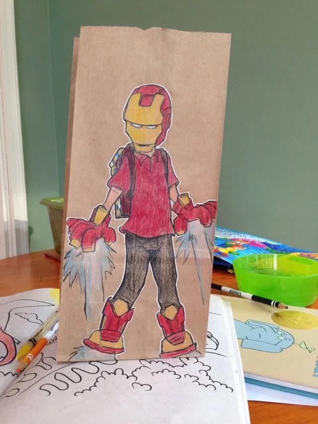ironman disegno su sacchetto