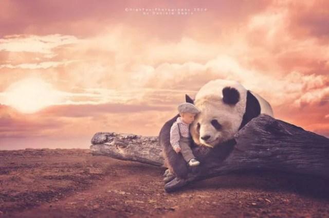 bimbo con panda