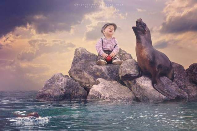 bimbo con leone marino